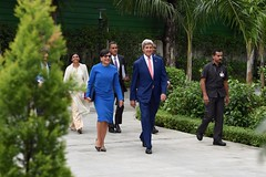 U.S. Secretary of State John Kerry, joined by U.S. Commerce Secretary Penny Pritzker, U.S. Ambassador to India Richard Verma, Assistant Secretary of State for South Central Asian Affairs Nisha Biswal, and State Department Chief of Staff Jon Finer, walks to a meeting with Indian Prime Minister Narendra Modi on August 31, 2016, at the Prime Minister's Residence in New Delhi, India. [State Department Photo/ Public Domain]