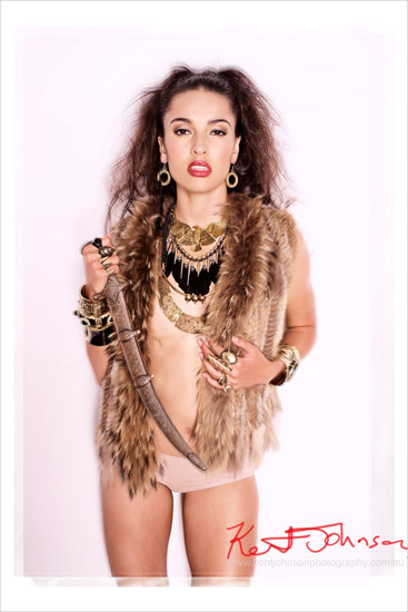 Fashion Photography; Hippy Gothic Chic, Fur beads and bronze Eagle necklace Fashion Jewellery Campaign