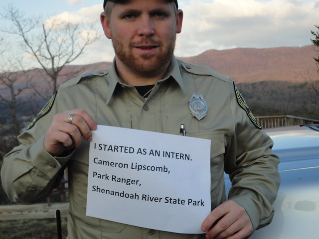 Cameron Lipscomb started as an intern and is now Chief Ranger at Powhatan State Park! (he has been promoted since the picture above)