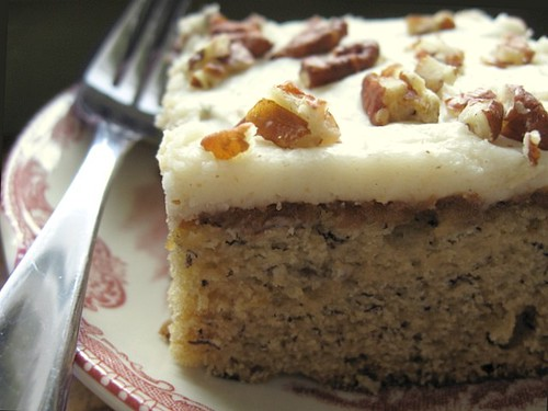 Roasted Banana Cake with Browned Butter Pecan Frosting