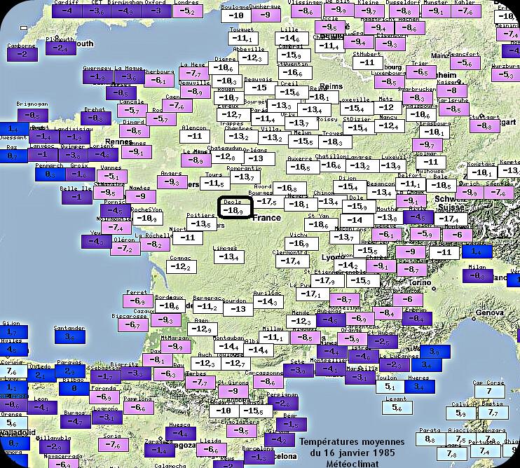 températures moyennes glaciales du 16 janvier 1985, deuxième jour le plus froid en France jamais enregistré météopassion
