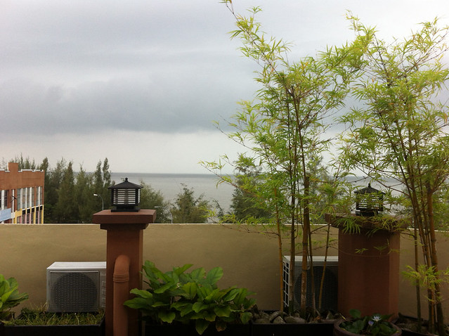 View of the sea from terrace of Pontian Garden Hotel