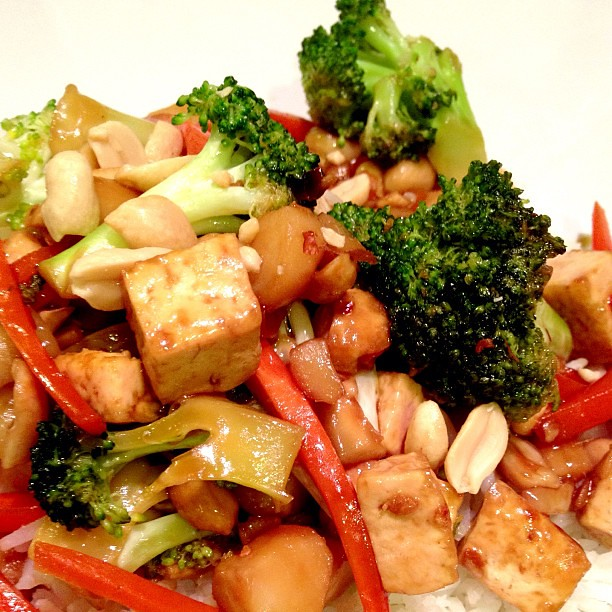 Dinner: Kung Pao Tofu with Broccoli, Carrots and Water Chestnuts over Jasmine Rice. #vegan