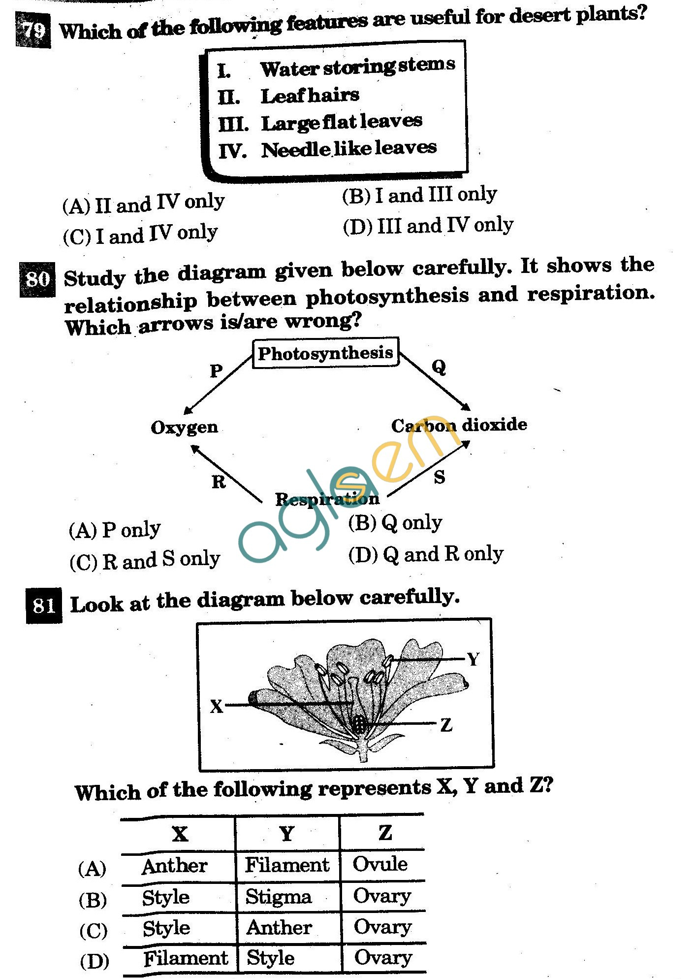 NSTSE 2011: Class VI Question Paper with Answers - Biology