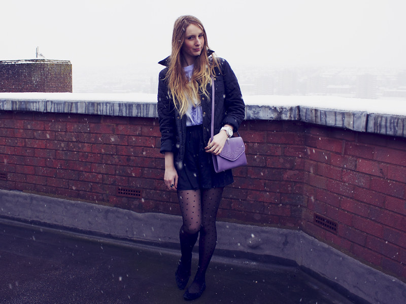 Quilted jacket, purple vintage handbag, spotted tights, topshop culottes