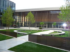 courtyard, grass, architecture, headquarters, condominium, facade, lawn, public space, plaza, campus,