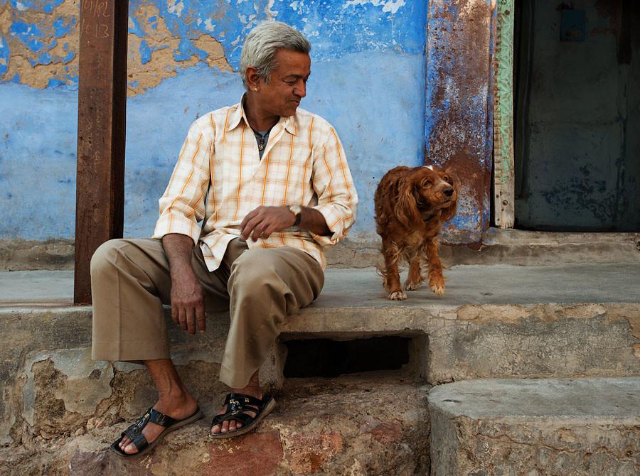 Man with his dog, Jodhpur, India