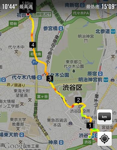 渋谷から初台までの徒歩経路 by haruhiko_iyota