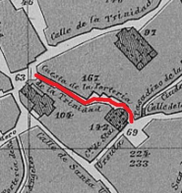 Cuesta de la portería de la Trinidad en el Plano de Reinoso de 1882