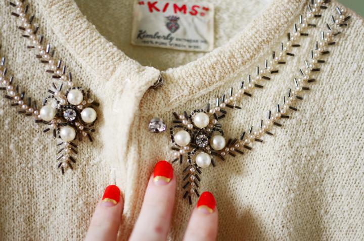 vintage cardigan pearl sparkles b