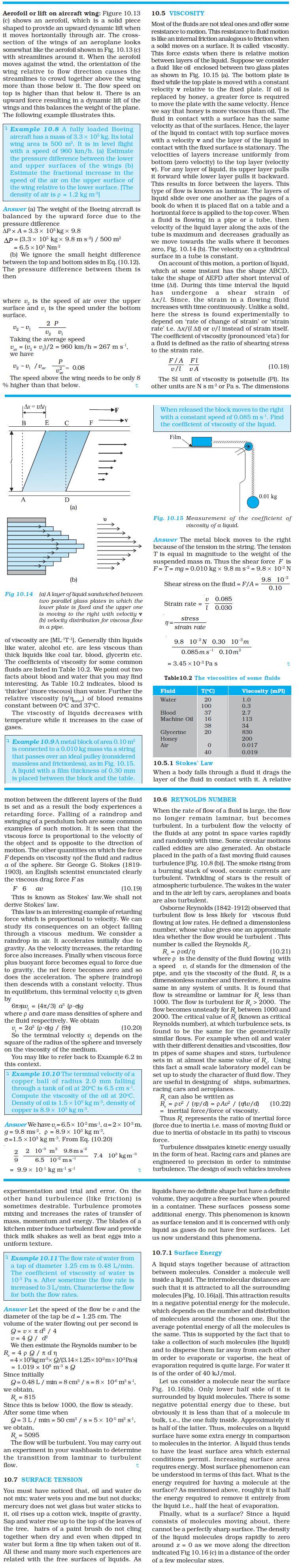 NCERT Class XI Physics Chapter 10 – Mechanical Properties of Fluids
