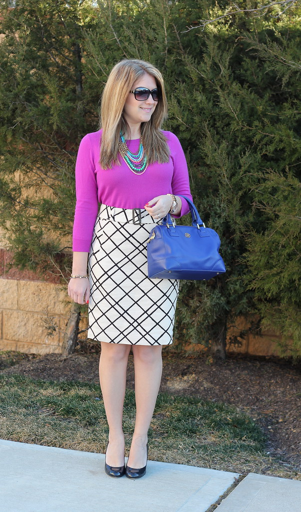 Purple Sweater & Patterned Skirt work outfit