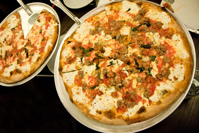 Sausage and garlic pie, margherita pie, Juliana's