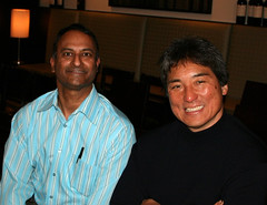 Shashi Bellamkonda and Guy Kawasaki during a Network Solutions Small Business Road Show