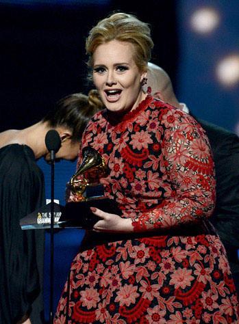 Adele. Premios Grammy, versión 55, febrero 10 de 2013, Staples Center, Los Angeles, California, Estados Unidos. Foto cortesía Canal TNT.