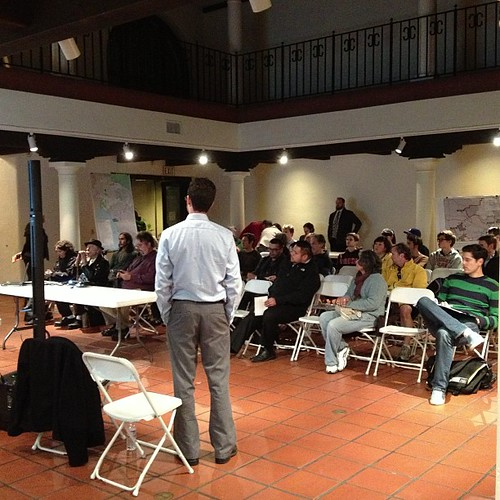 Crowd of about 40 people, 3 kids, 6 bureaucrats at meeting. #bikela #fig4all
