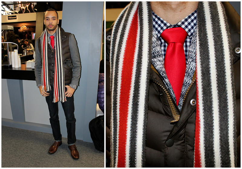 nyfw, tweed sweater, stripe scarf, stripped shirt, men tie details
