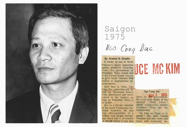Saigon 1975 - Cựu dân biểu Ngô Công Đức, cựu chủ bút và chủ nhân báo Tin Sáng