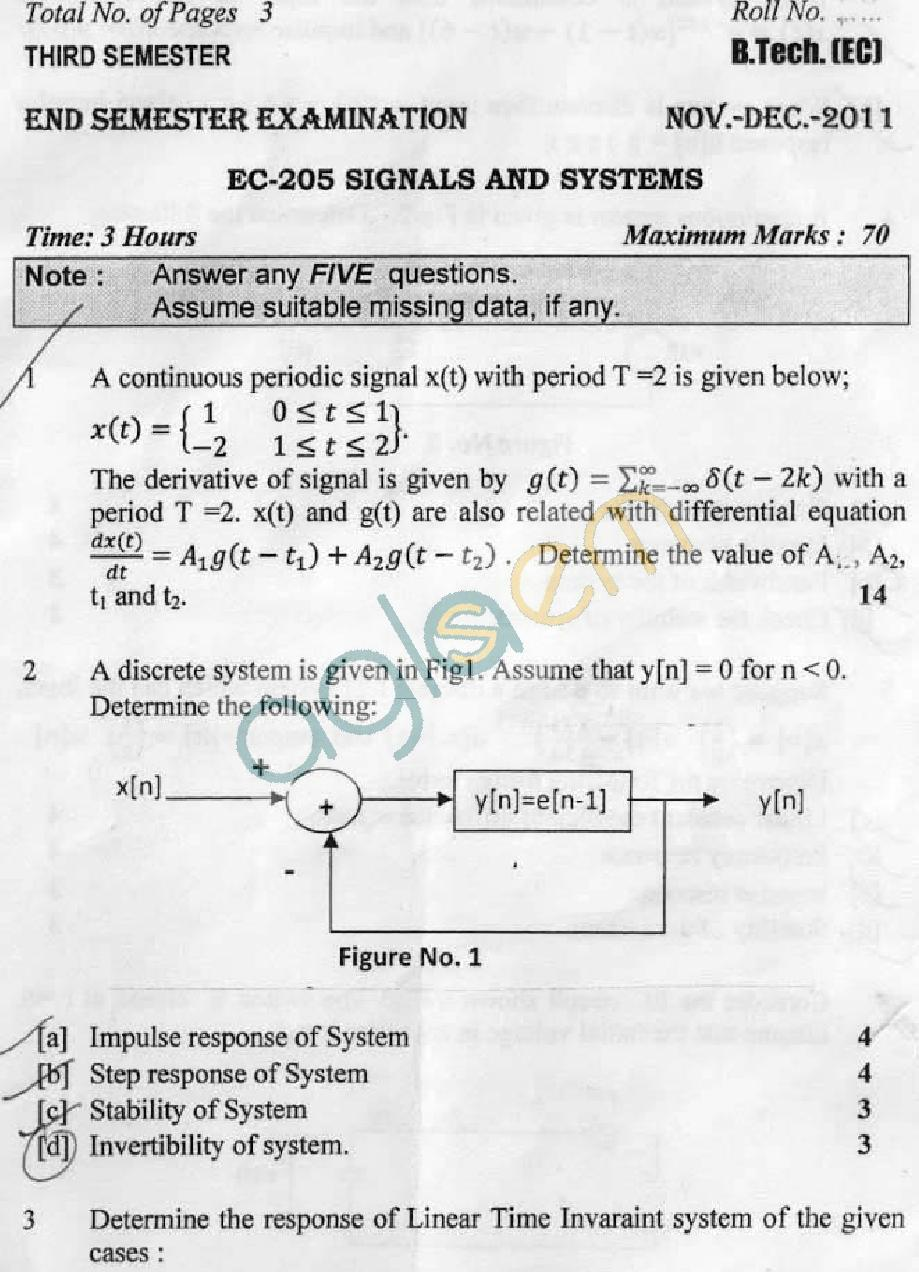 DTU Question Papers 2011 - 3 Semester - End Sem - EC-205