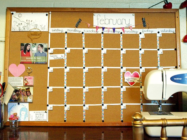 DIY bulletin board calendar