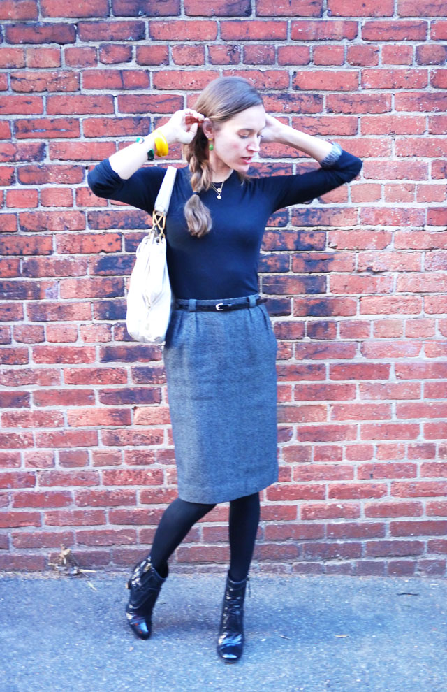 workwear stella mccartney boots vintage dior skirt my fair vanity style blog 2