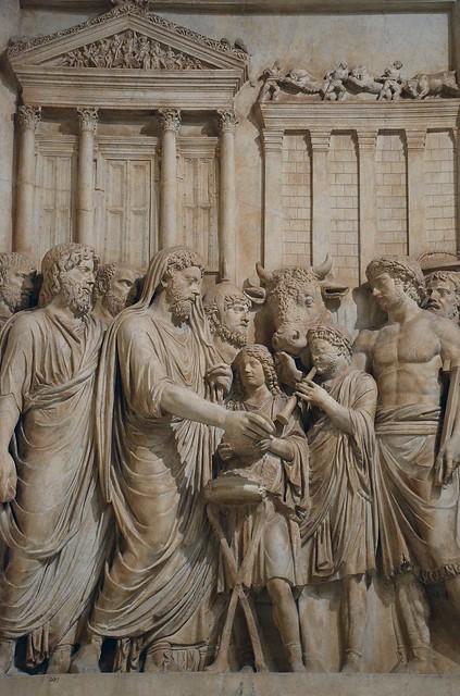 Relief from a honorary monument to Marcus Aurelius: Marcus Aurelius as pontifex maximus making a sacrifice to Jupiter Optimus Maximus Capitolinus, 176-180 AD, from Rome, Musei Capitolini, Rome