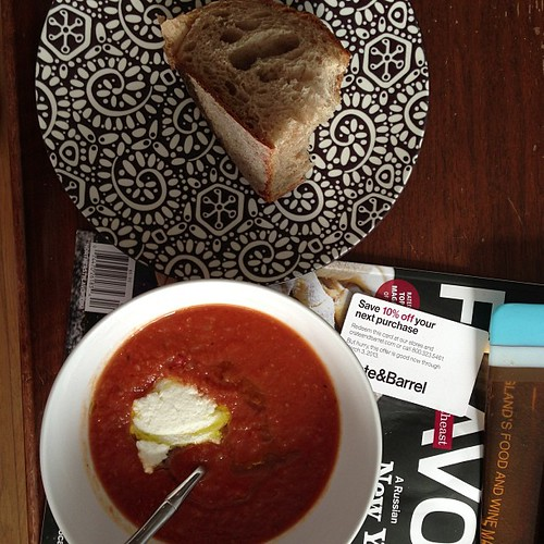 Tomato sourdough soup for lunch w miche from bien cuit.