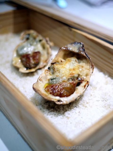 baked oyster on angel hair pasta with seared foie gras P160 per pc.