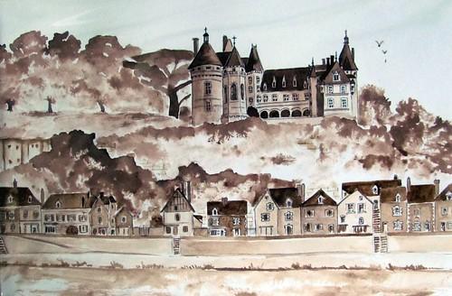 Dibujo de uno de los castillos del Loira (Francia)