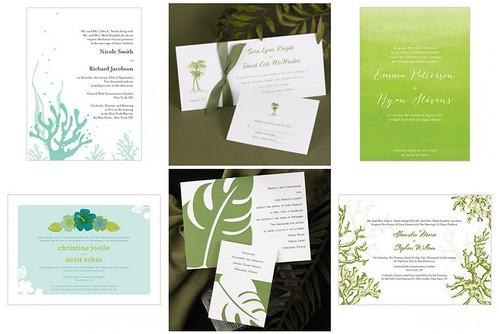 Unity Sand Ceremony: Green Beach Wedding Invitations