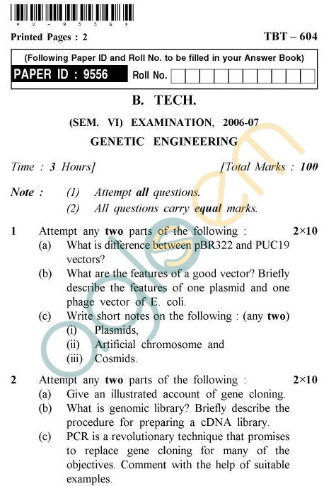 UPTU B.Tech Question Papers - TBT-604 - Genetic Engineering
