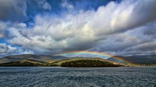 seascape clouds landscape rainbow tasmania