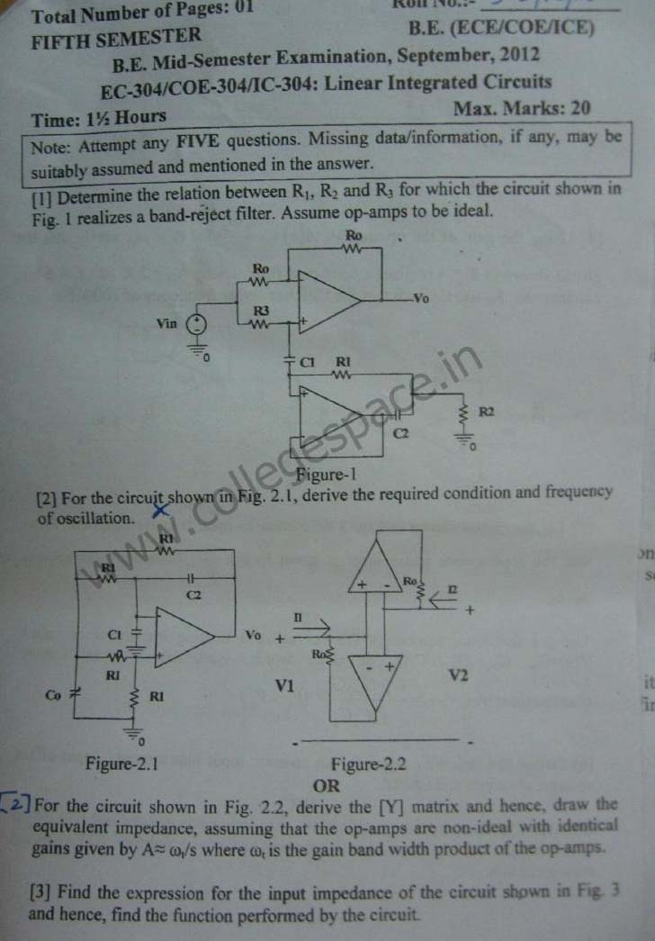 NSIT Question Papers 2012 – 5 Semester - Mid Sem - EC-COE-IC-304