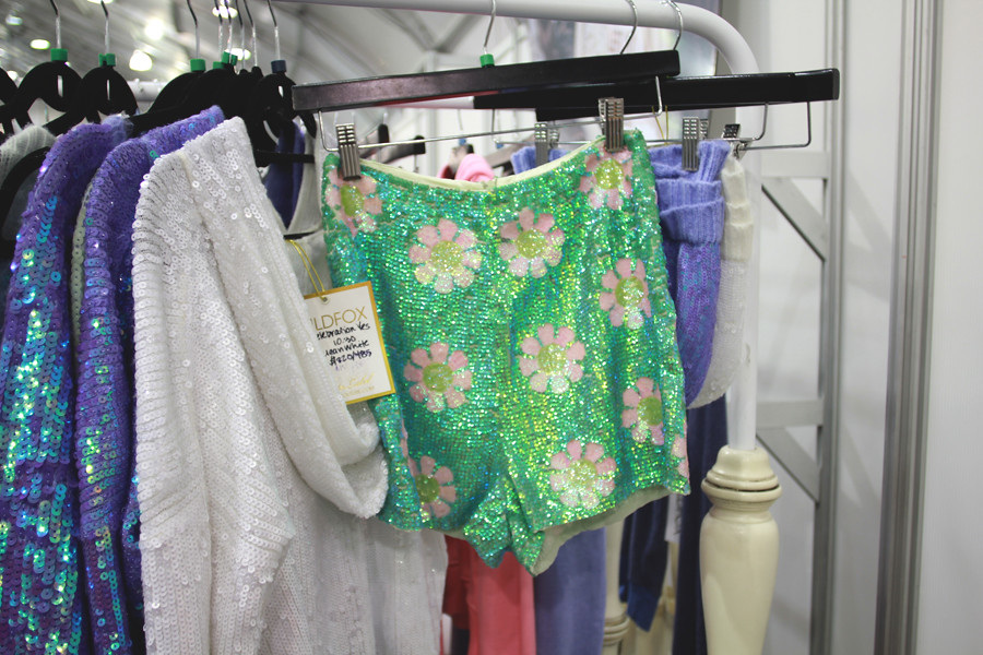 Wildfox Couture High Waist Green Sequin daisy 90's floral shorts