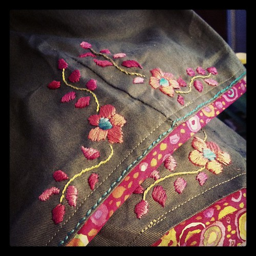 My cheap WM pants getting the happy treatment. They were too short. Lengthened with Kaffe Fasset binding and embroidery inspired by lovely Mexican dresses. #embroidery