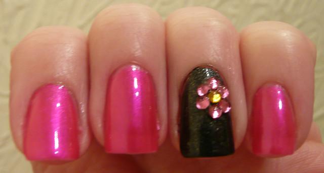 pink grey rhinestone flower 1