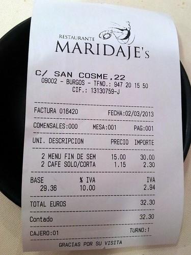 Burgos | Maridaje's | Cuenta