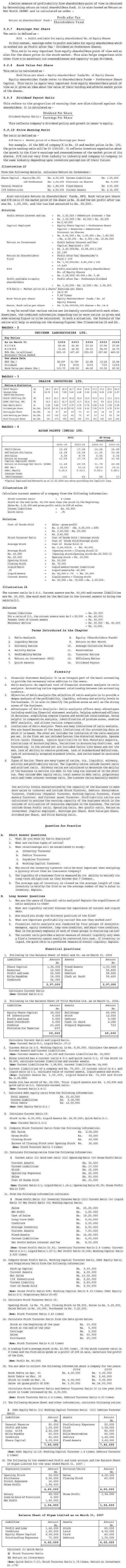 NCERT Class XII Accountancy II Chapter 5 - Accounting Ratios