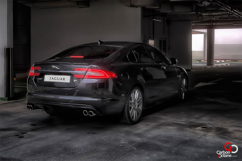 2013 Jaguar XFR rear threequarter.jpg