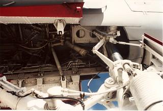 Grumman EA-6B Prowler nose gear well, forward.