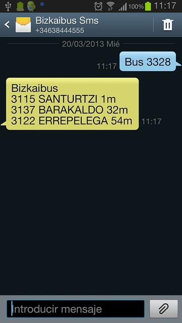Bizkaibus SMS