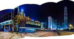 """從大會堂到國際金融中心 From City Hall to International Financial  Centre (IFC)"" / 香港中環建築夜之全景 Hong Kong Central Architecture Night Panorama / SML.20130323.7D.35884-SML.20130323.7D.35895-Pano.Cylindrical.218x110.P1.L1"