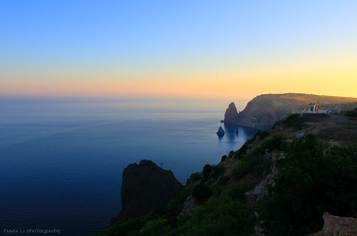 sunset sea sky cliff seascape water landscape evening boat rocks yacht shore cape rotunda crimea blacksea viewingpoint