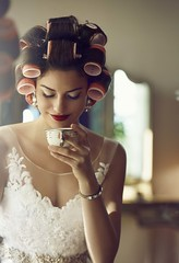 Bride in Curlers at L.A. Wedding Photography Location