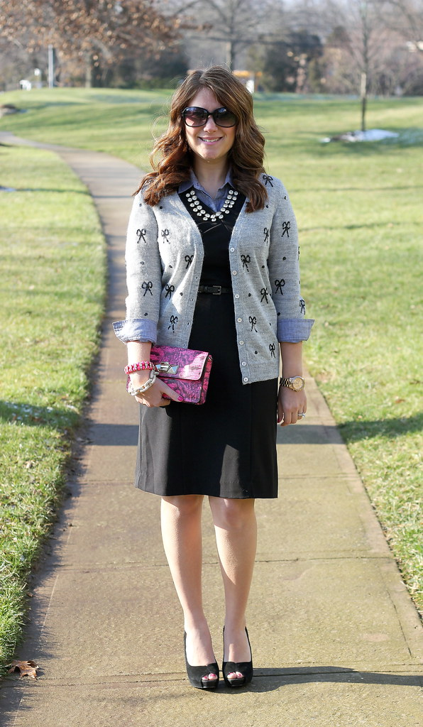 Sequin Bows with Pops of Pink work outfit