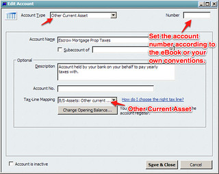 other current asset escrow quickbooks