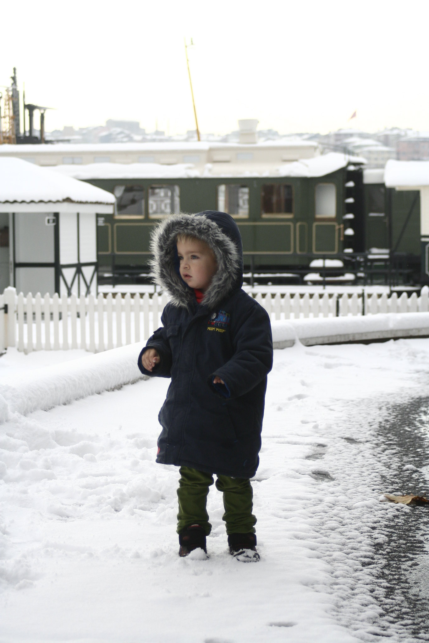 Anton in the snow at Koç 'Car' Museum.