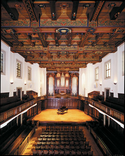 The interior of Bridges Hall of Music after its renovation in 2000, with the new C.B. Fisk pipe organ.