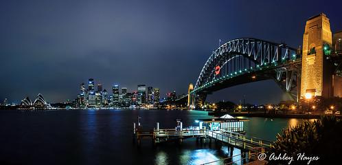 bridge panorama night sydney australia landmark icon lips northside cbd bluehour operahouse sydneyharbourbridge jeffreystreetwharf