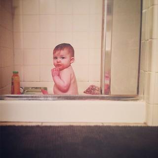 Poop-splosion in her highchair. Omg hurl #gotobedkid #millerpaige